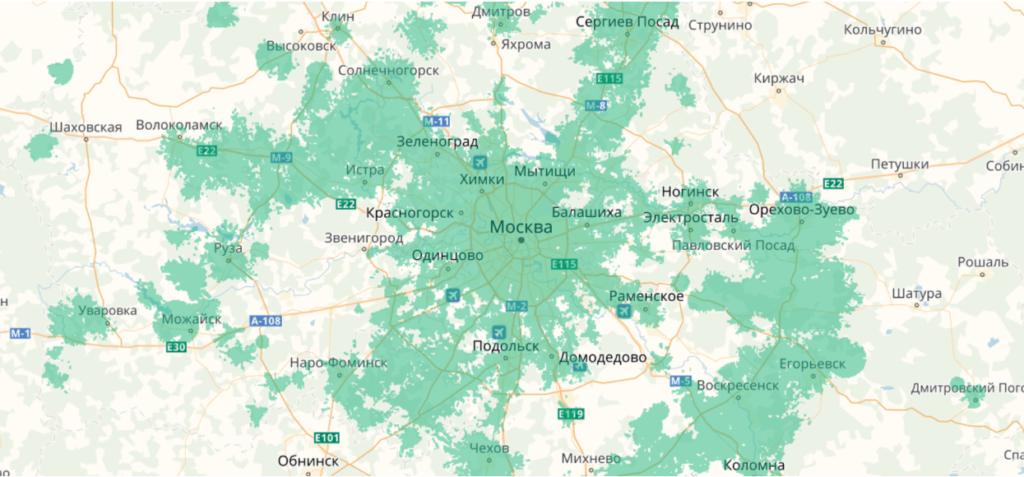 Карта покрытия 4G для Москвы