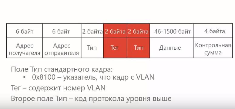 Тип стандартного кадра vlan