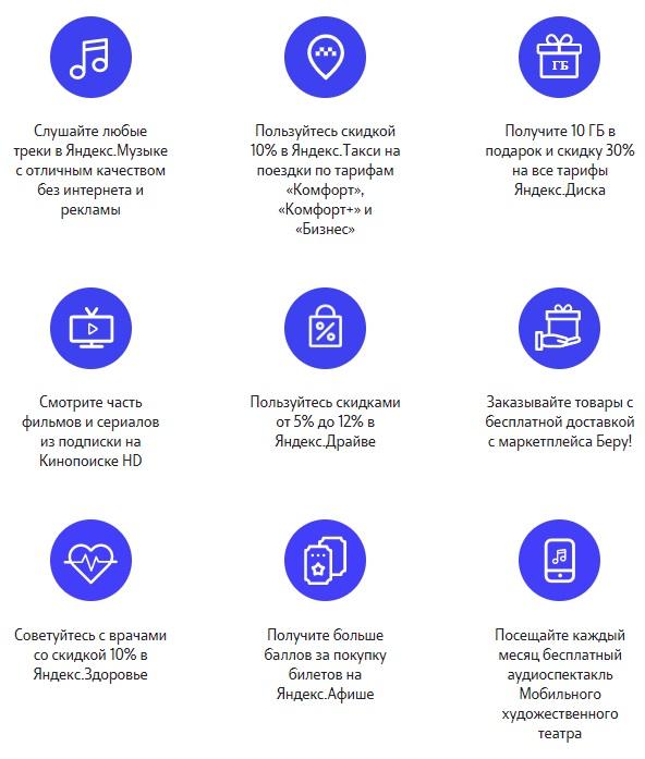 Яндекс плюс в тарифе Везде Онлайн от Теле2