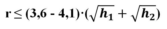 Формула позволяет оценить расстояние между станциями в зависимости от высоты антенны