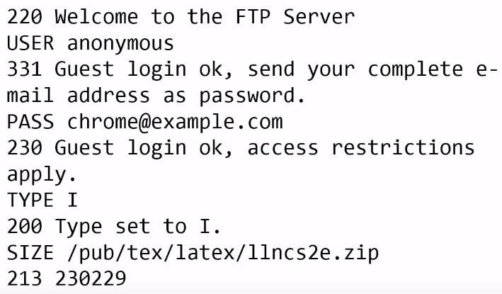 пример кода протокола ftp