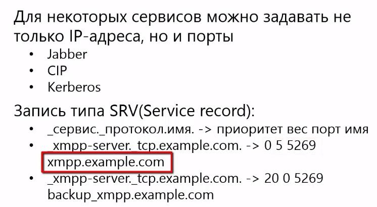 Адреса сетевых сервисов DNS