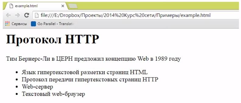 Гипертекст в браузере