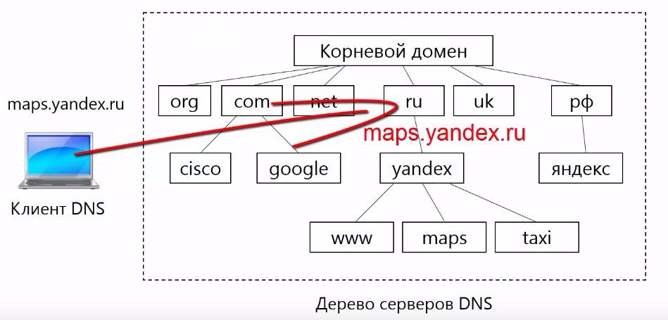 Клиент DNS отправляет запрос к серверу